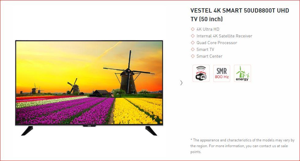 VESTEL 4K SMART 50UD8800T UHD TV (50 inch)